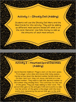 Halloween Adding and Subtracting Decimals Activity Pack