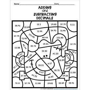 Halloween Adding and Subtracting Decimals Color by Number