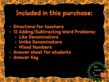 Halloween Adding and Subtracting Fractions Word Problems
