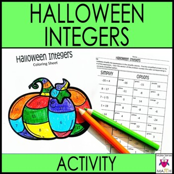 halloween math worksheet activity adding and subtracting integers