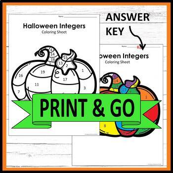 Halloween Adding and Subtracting Integers Middle School Math Coloring Activity