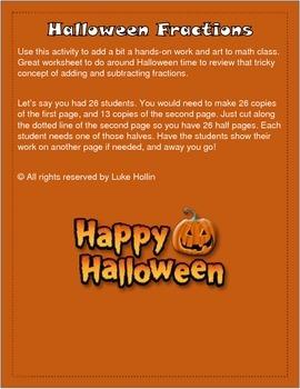 Halloween Adding/Subtracting Fractions Activity