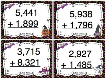 Halloween Addition (4 Digit Numbers) Task Cards