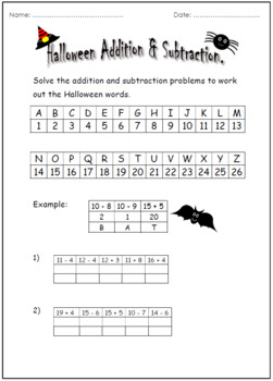 Halloween Addition And Subtraction.