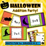 Halloween Addition Card Party and Worksheets