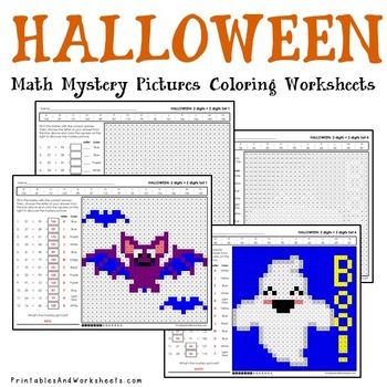 Addition Halloween Coloring Worksheets