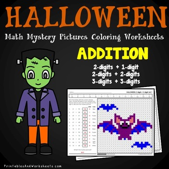 Halloween Addition Coloring Pages Worksheets