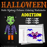 Halloween Addition Worksheets, Adding Mystery Picture Coloring Sheets
