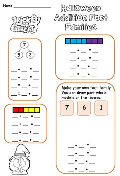 Halloween Addition Fact Families