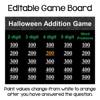 Halloween Math Multi Digit Addition Game