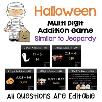 Halloween Addition Game - Similar to Jeopardy