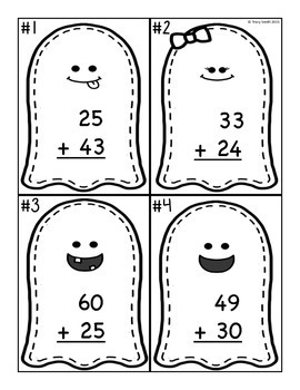 Halloween Addition - Math - 2 Digit No Regrouping - Task Cards - SCOOT/Centers