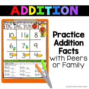 Halloween Addition Math Center Game