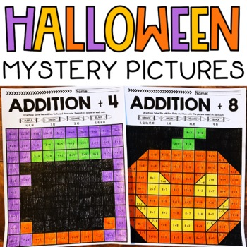 Halloween Mystery Pictures Addition Fact Fluency +1 to +10