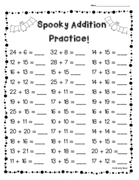 Halloween Addition Practice! - 3 Leveled Sheets! 1 digit and 2 digit Worksheets