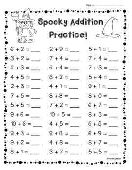 Halloween Addition Practice! - 3 Leveled Sheets! 1 digit a