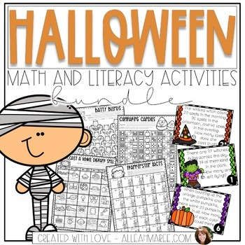 Halloween Addition & Subtraction Activities Task Cards, Sorts, & Coloring