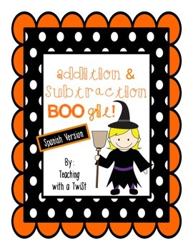 Halloween Addition & Subtraction Boogie in Spanish {Games