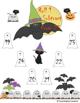Halloween Addition & Subtraction Bump Game Bundle