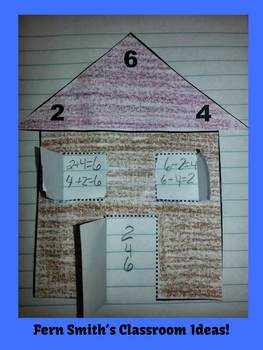 Halloween Addition & Subtraction Fact Families Center Game & Cut & Paste Houses