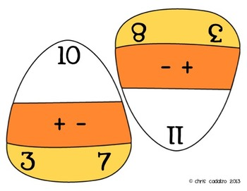 Candy Corn Fact Triangles - Addition and Subtraction Facts