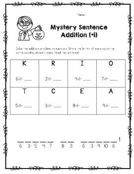 Halloween Addition/Subtraction Mystery Sentence