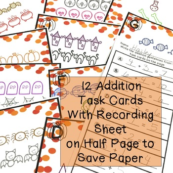 Halloween Addition & Subtraction Task Cards