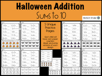 Halloween Addition Sums to 10 Practice Pages