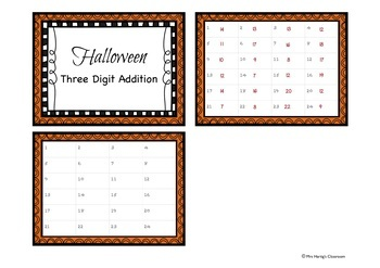 Halloween - Addition Task Cards With Three Numbers