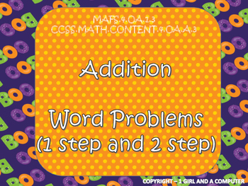 Halloween Addition Word Problems (1 and 2 step word problems)