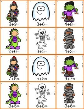 Halloween Addition and Subtraction Buddy Games