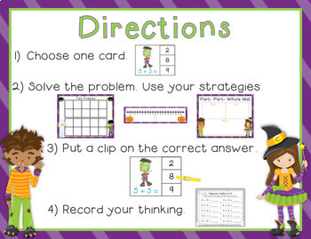 Halloween Addition and Subtraction Clip Card Math Center