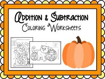 Halloween Addition and Subtraction Color by Number