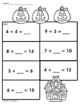 Halloween Addition and Subtraction Lower Elementary FREEBIE