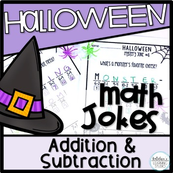 Halloween Addition and Subtraction Math Mystery Jokes Worksheets