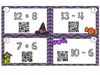 Halloween Addition and Subtraction QR Task Cards