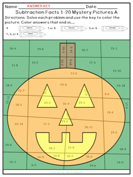 Halloween Addition and Subtraction Within 20 Mystery Pictures