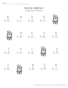 Halloween Addition and Subtraction Worksheets