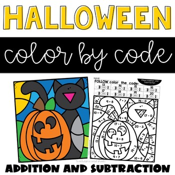 Halloween Addition and Subtraction Worksheets with Color by Numbers