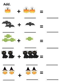 Halloween Addition and Subtraction Worksheets/Mats