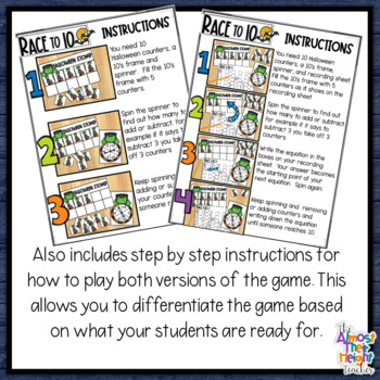 Halloween Addition and Subtraction a Tens Frame Game adding and ...