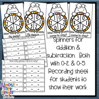 Halloween Addition and Subtraction - a ghost themed math center activity