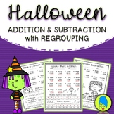 Halloween Addition and Subtraction with Regrouping (Jokes