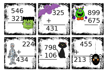 Halloween Addition and Subtraction without regrouping