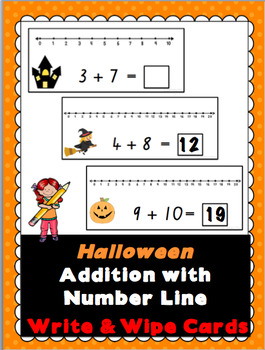 Halloween Addition with Number Line Write and Wipe Cards