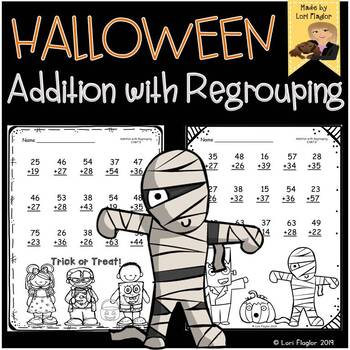 Halloween Addition with Regrouping Printables