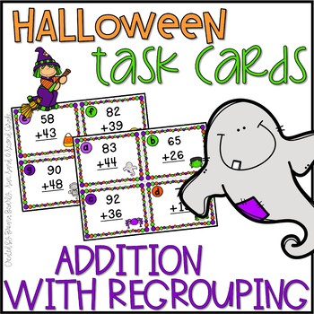 Halloween Addition with Regrouping Task Cards Freebie