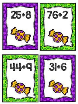 Halloween Addtion and Subtraction Math Center Task Cards