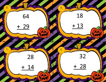 Halloween Addition with Regrouping Task Cards/Scoot