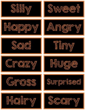Halloween Adjective Labels for Adjective Pumpkins, Spiders, Skeletons and more!